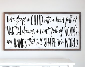 Farmhouse Wood Sign | Here Sleeps A Child With Magical Dreams