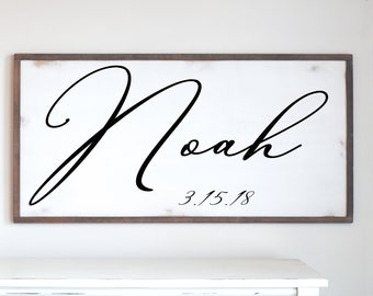 Framed Wood Sign Personalized with Your Choice of Name