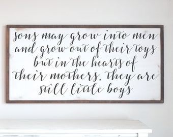 Sons Are Still Little Boys Wood Framed Wood Sign