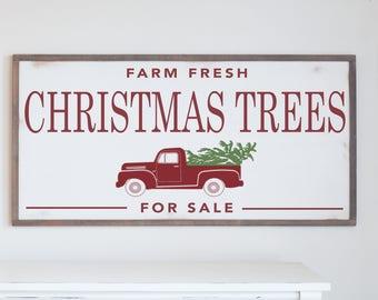 Farm Fresh Christmas Trees Wood Framed Sign
