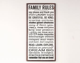 Family Rules Wood Framed Sign, Family Rules Sign, Fixer Upper Decor, Rustic Home Decor, Farmhouse Decor, Large Wood Framed Sign