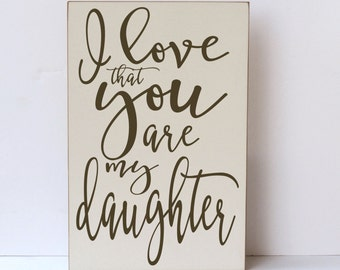 Daughter Wall Art, Wood Sign, I Love My Daughter Sign, Daughter Wood Sign, Wall Art for Family, Wall Art, Wood Wall Art, Girl Room Decor