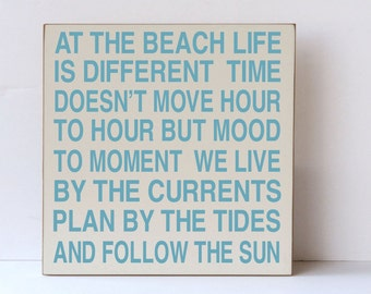 Beach Wood Sign, Wooden Sign for Beach Themed Decor, Cream and Aqua Beach Wall Art, Ocean Wood sign