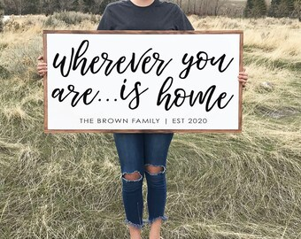 Wherever You Are Wood Sign with Wood Frame, Rustic Wood Sign, Wood Wall Art, Signs with Quotes, Farmhouse Wall Decor
