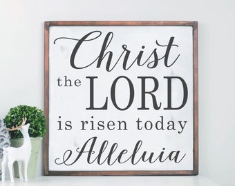 Christ Wall Art, Religious Wood Sign, Easter Decor, Distressed Farmhouse Wood Sign, Framed Wood Sign, Modern Farmhouse, Lord Is Risen