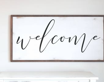 Welcome Wood Sign, Wood Framed Sign, Modern Farmhouse, Farmhouse Style, Farmhouse Chic Sign, Wooden Sign, Wooden Wall Art, Fixer Upper Style