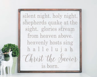 Silent Night Wooden Sign