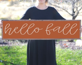 Fall Decor Wood Sign, Autumn Wooden Sign, Hello Fall, Decorative Wood Sign, Wood Artwork