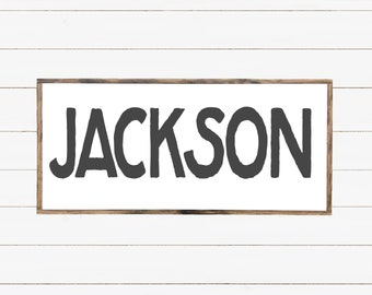 Boy Name Sign, Boy Name Decor, Name Sign for Nursery, Baby Shower Gift, Framed Sign, Personalized Wood Sign