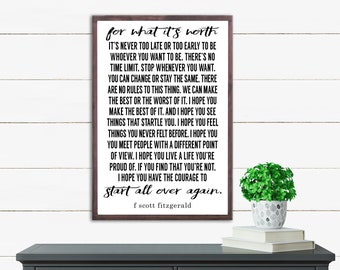 F Scott Fitzgerald Quote, For What It's Worth Wood Sign, Inspiring Rustic Wall Decor, Farmhouse Framed Wood Sign