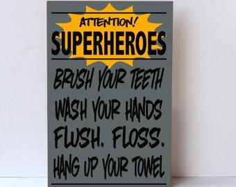 Superhero Bathroom Wood Sign For Child Super Hero Wall Art Home Decor