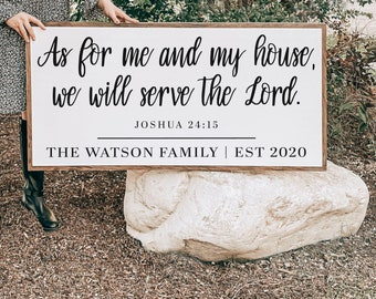 As For Me and My House, Joshua 24:15, Bible Verses for Home Decor, Rustic Wood Sign, Wood Wall Art, Signs with Quotes, Farmhouse Wall Decor