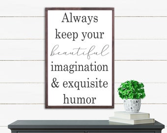 Beautiful Imagination Wood Sign, Farmhouse Decor, Fixer Upper Decor, Wood Artwork, Farmhouse Wall Decor, Wall Art Sayings
