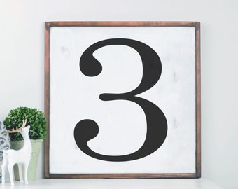 Farmhouse Sign, Framed Number, Rustic Wood Sign, Farmhouse Decor, Cottage Style, Gallery Wall, Large Wood Sign, Modern Farmhouse Wall