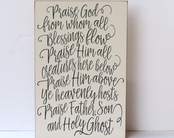 Praise God From Whom All  Blessings Flow Hymn Wood Sign, Doxology Hymn Wall Art, Farmhouse Home Decor, Religious Wall Art, Musical Art