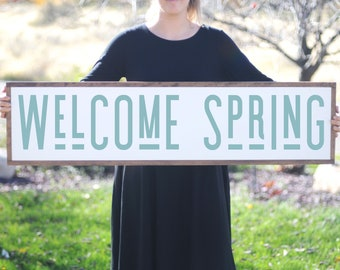Wood Sign For Spring Decor, Welcome Spring Wall Art, Inspiring Rustic Wall Decor, Farmhouse Framed Wood Sign, Distressed Wood Sign