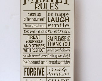 Family Rules, Rules of the Family, Our Family Rules, Wood Sign, Sign for Family Rules, Home Decor Sign, Family Rules Sign, Wall Decor Sign