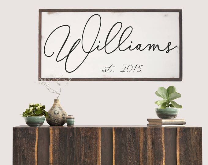 Featured listing image: Last Name Establish Year Wood Sign, Family Name Sign, Farmhouse Name Sign, Gift for Newlyweds, Anniversary Gift, Bridal Shower Gift