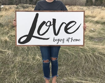 Inspiring Rustic Wall Decor, Love Begins At Home Farmhouse Style Wood Sign with Wood Framing, Large Wood Signs Sayings, Mantle Decor