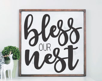 Bless Our Nest Wood Sign, Family Room Sign, Farmhouse Wood Sign, Wall Art, Gallery Wall Decor, Mantle Decor, Farmhouse Decor, Sign Entryway