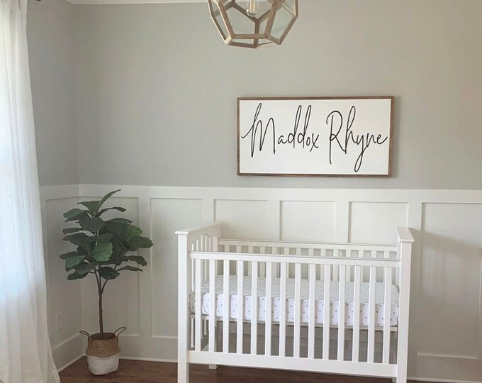 Featured listing image: Baby Name Sign, Name Sign for Over Crib, Wooden Name Signs for Nursery, Baby Shower Gift, Framed Sign, Personalized Wood Sign