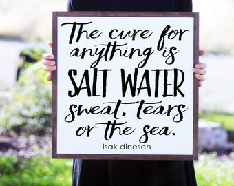Sweat, Tears or The Sea Quote Wood Framed Wood Sign, Beach House Decor, Salt Water Quote, Beach Home, Inspirational Quote,