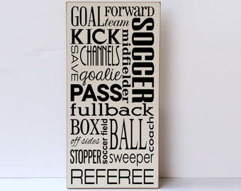Wood Wall Art, Sports Wall Decor, Wall Art for Sports Themed Bedroom, Soccer Wood Sign, Sports Wood Sign, Wooden Sign, Soccer Decor