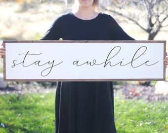 Stay Awhile Wood Sign, Home Sign Modern Farmhouse Decor, Family Room Large Sign, Entryway Sign, Housewarming Gift