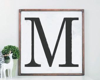 Alphabet Letter Wood Sign, Monogram Wooden Sign, Monogram Framed Wall Art, Last Name Initial Decor