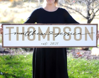 Name Sign Wedding, Last Name Wood Sign for Wall, Home Sign Modern Farmhouse Decor, Family Room Large Sign, Entryway Sign, Housewarming Gift