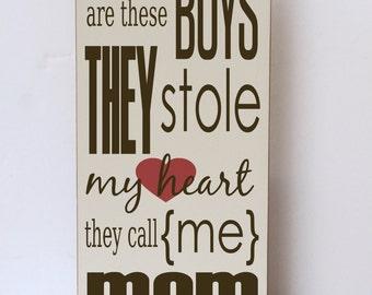 Boys Stole Heart Wood Sign, Nursery Art, Gift for Her, Modern Farmhouse Style, Boy Room Wood Sign, Bedroom Wall Art, Mom Gift Wood Sign