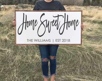 Home Sweet Home Personalized Wood Sign