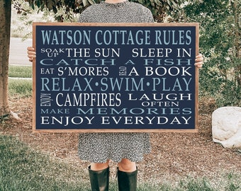 Cottage Rules Wood Sign With Wood Framing, Customized Last Name