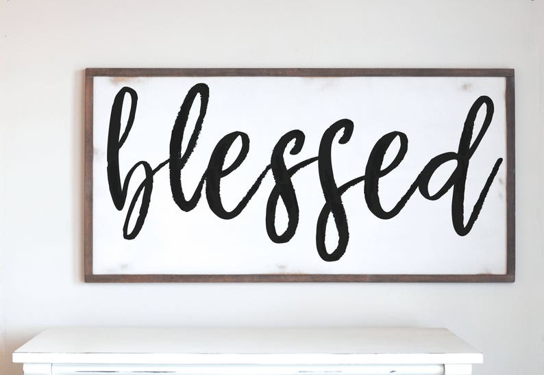 Large Framed Wood Sign Blessed Painted Wooden Sign image 0