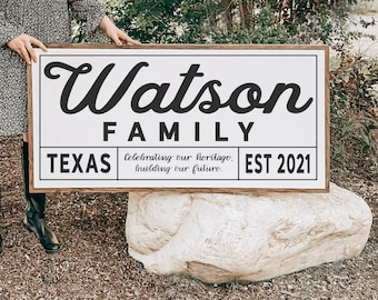 Family Name Wood Sign, Custom Family Motto Included, Home State and Established Date, Real Wood Sign, Painted Wall Art