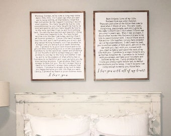 Wedding Vows on Wood Sign with Wood Framing, Marriage Vows Wall Decor, Gift For Anniversary