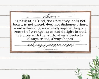Love Is Patient Farmhouse Style Sign, Scripture Wall Art, Modern Farmhouse Wood Sign, Inspirational Wood Sign, 1 Corinthians 13