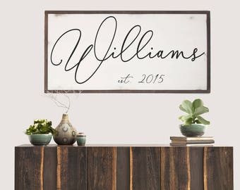 Established Last Name Wood SIgn, Family Name Sign, Last Name Sign, Farmhouse Name Sign, Last Name Wood Sign, Wedding Gift, Anniversary