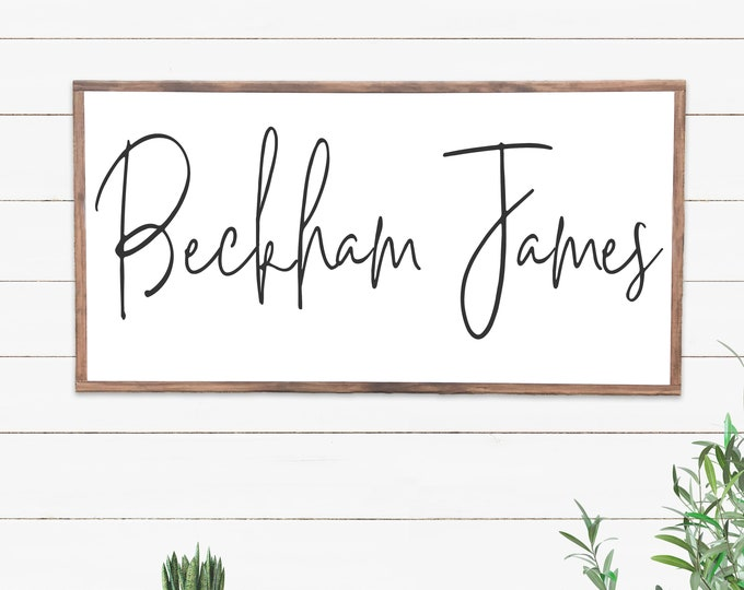 Featured listing image: Nursery Sign for Baby Boy, Name Sign for Over Crib, Wooden Name Signs for Nursery, Baby Shower Gift, Framed Sign, Personalized Wood Sign