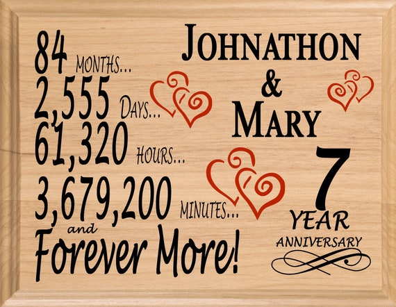 7 Year Anniversary Gift Personalized 7th Anniversary Gifts For Etsy