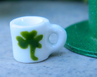 St. Patrick's Day Miniatures Lucky Clover Cup Fairy Garden Accessories