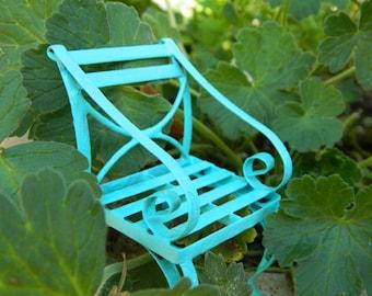Fairy garden Furniture Miniature Chair Bright Robins Egg Blue Fairy Chair Fairy Accessories Terrarium Accessorie