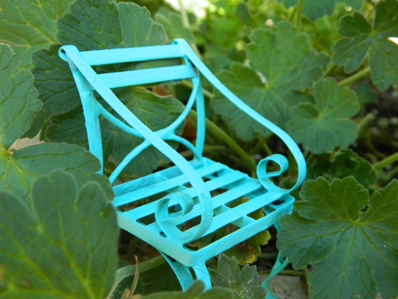 Awesome Fairy Garden Furniture Miniature Chair Bright Robins Egg Blue Fairy Chair Fairy Accessories Terrarium Accessorie Gmtry Best Dining Table And Chair Ideas Images Gmtryco