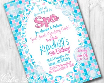 Spa Party Invitations, Printable Custom Invitations by Cutie Putti Paperie