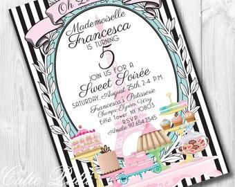 Paris Invitations, 5x7 Printable Custom Invitations by Cutie Putti Paperie