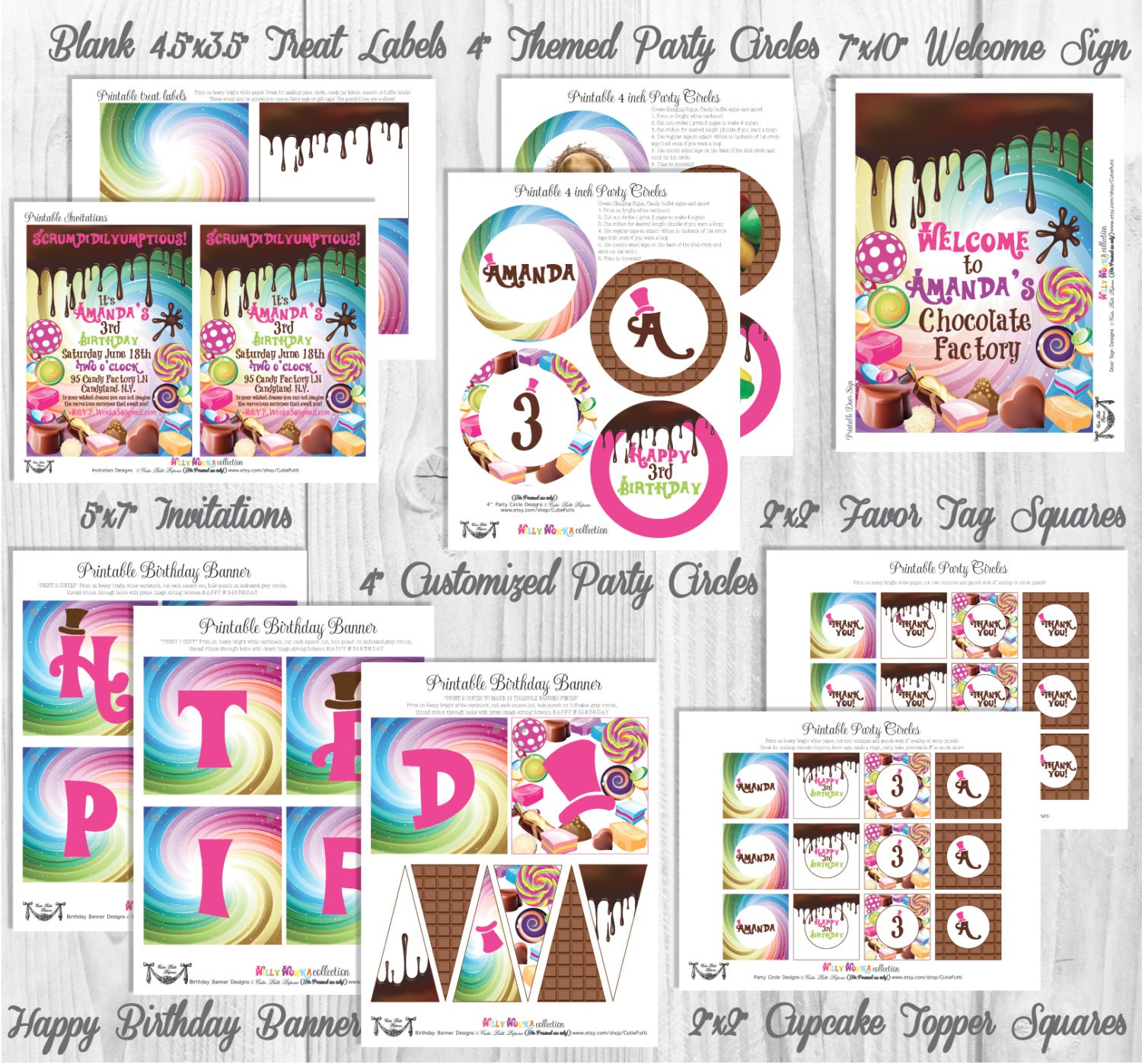 Willy Wonka Party Decorations Printable Party By Cutie Putti | Etsy