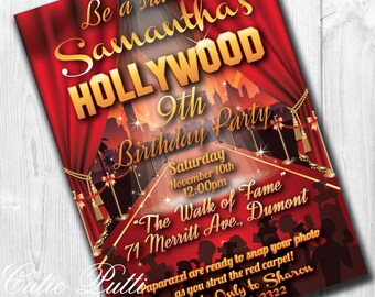 Hollywood Party Invitations | Hollywood Invitation | Hollywood Sweet 16 | Red Carpet Sweet 16 |  Old Hollywood Party | Hollywood Invite