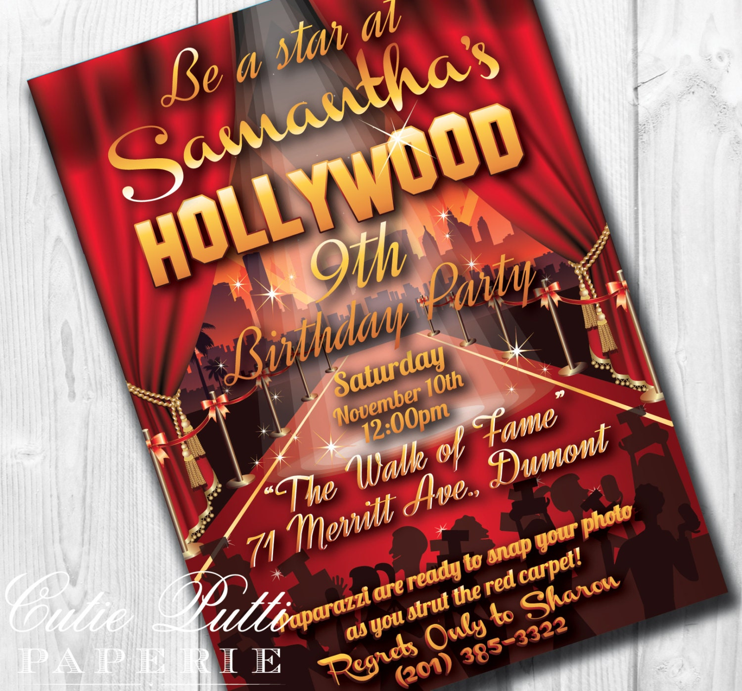 Hollywood Party Invitations Hollywood Invitation Hollywood | Etsy