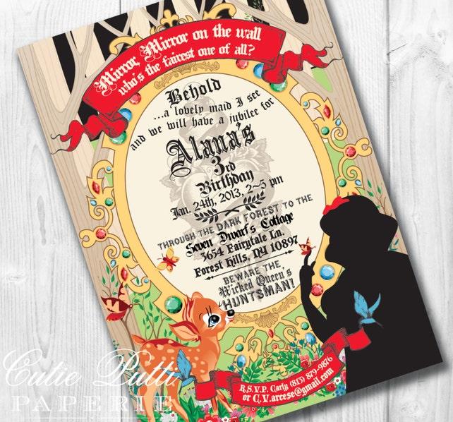graphic regarding Snow White Invitations Printable titled Snow White Birthday Invites, Printable Personalized