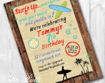 Surfing Invitation | Surf Invitation | Surfing Invitations | Surf Invitations | Surf's Up Birthday | Surfing Party | Surf Theme